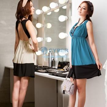 Sexy Deep V-Neck Sleeveless Beauty Back Pretty Mini Milk Silk women dresses Beige/Blue color + 35