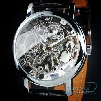 Winner Men Silver Roman Number See Through Hand-wind Mechanical Watch Leather Wristwatch Free Ship