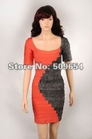 Free Shipping+MOQ1 Rayon Ladie's Bandage Celebrity Evening Dress U-Neck Orange