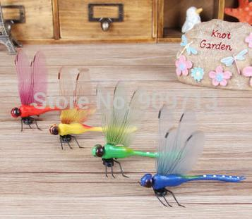 Free Shipping! 14CM big yellow Simulation Dragonfly\refrigerator Magnet adornment \Wedding Decorations Dragonfly(China (Mainland))