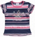 Girls short sleeve t-shirt with embroidery and stripes 11265#