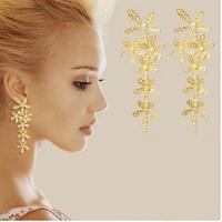 2014 New Flower Chandelier Earrings Fashion Rhinestone Jewelry 10pairs/lot Free Shipping (Silver, Golden)