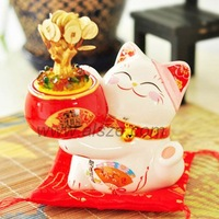 Gather fortune and lucky bone china Maneki Neko(Lucky cat,fortune cat ),business gift,house/office decoration.commerical mascot