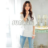New Fashion Sexy Ladies Womens Trendy Batwing Dolman Short Sleeve Casua Off-Shoulder Top T-Shirt 4 Colors Free Shipping 3109