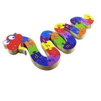 Colorful Wooden snake Jigsaw Puzzle for Kids Letter Learning #2002