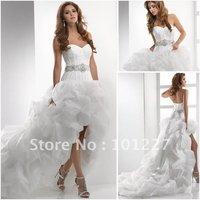 MG1536 Stylish High Low Sweetheart-Neckline Beaded-Blet Organza Front Short Long Back A-Line Bridal Wedding Dress 2013