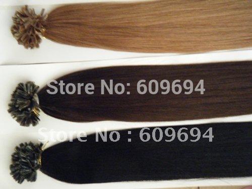 "18"" 20"" 22"" 24"" 100g Italian keratin Nail Tip U tip hair extensions 1g/s 100% Indian Human Remy Hair black brown blond in stock(China (Mainland))"
