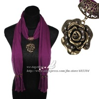 Scarf,Beautiful Rose With Rhinestone Pendant Design,Ancient Bronze Color Accessories,16 Colors,180*40cm,Free Shipping Wholesale