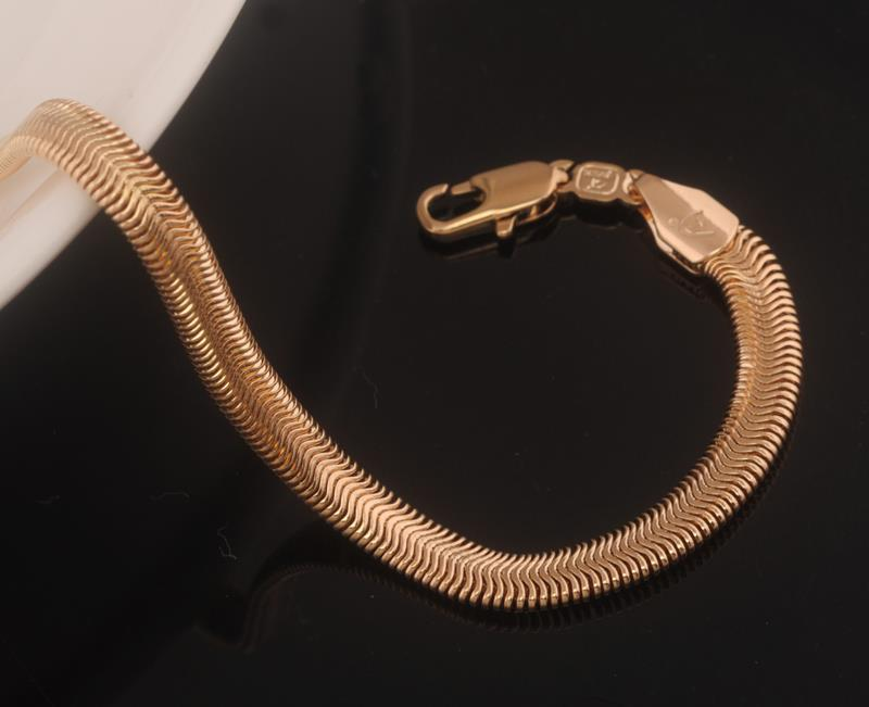 205 5mm 220 6mm 18k Gold Plated Snake Chain Bracelet Man High Quality