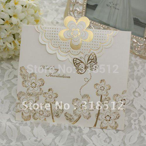 Free Shipping ~ Butterfly Wedding Invites ,100pcs/lot ,Free Wording Printing(China (Mainland))
