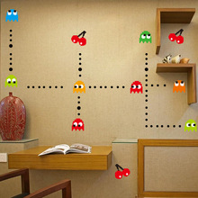 [funlife]-10pcs/lot  PACMAN GAME RETRO Wall sticker Kids Roo Nursery Vinyl Wall