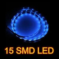 Blue 30CM 15 SMD LED Flexible Strip Car Van Light Lamp Bulb 12V Waterproof New  #8336