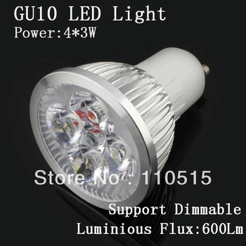 Wholesale -12W GU10 LED Spot light 85-265V White LED Lamp Top Seller LED Bulbs High Power LED Lights 100pcs lot