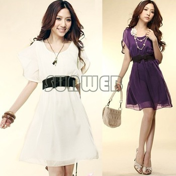2014 Hot Fashion Women's Lady Short Sleeve Crew Neck Chiffon Dress Roll Wave spins drop shipping  3568