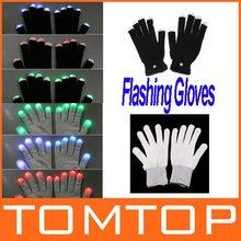 Funny Gift One pair of 7 Mode LED Gloves Rave Light Finger Lighting Glow Flashing Gloves freeshipping Dropshipping Wholesale(China (Mainland))