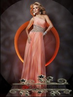 Free Shipping Chiffon One-shoulder A-Line  Evening Dress 2012 New Style Designer Evening dress Shining Crystal