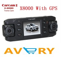 X8000 car camera, dual lens gps car black box, X8000 2.0inch Dual wide angle, dual rotatable camera with GPS Logger