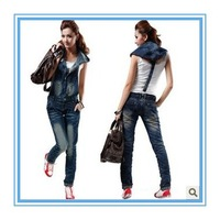 Free shipping new women's  denim overalls coveralls Slim jumpsuit plus size jeans-G69
