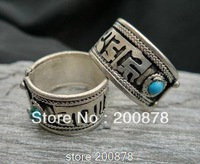 R080  Tibetan Silver Buddhist six words mantras Ring,Man`s open ring,Wholesale Tibet Rings