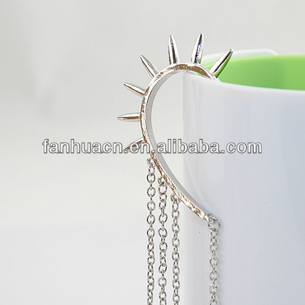 Wholesale items fashion gold silver color alloy individual cuff earrings connected hair comb(China (Mainland))
