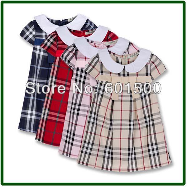 Plaid in cotone ragazze vestiti delle ragazze nuovo 2013 causale breve estate- abito manica rosso blu rosa beige dimensioni 90-125cm 5pcs/lot 2606