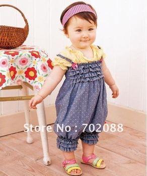 Free shipping baby Romper,Siamese trousers.Denim harnesses,Girls baby dress,Baby Girls Bodysuits 5pcs/lot
