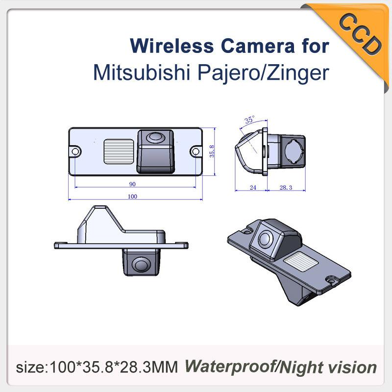 "Waterproof Auto Car Reverse Camera wireless CCD 1/3"" car parking camera for Mitsubishi Pajero/Zinger 728*582 night vision(China (Mainland))"