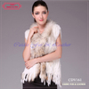 2012 New design rabbit fur gilet with raccoon dog fur trim