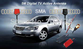 Factory price !!! 5M Digital TV Active Antenna Mobile Car Digital DVB-T ISDB-T Aerial with a Amplifier Booster+Free shipping