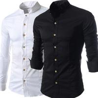 New Arrival Fashion Men Shirt Casual Dress Shirts Stand Collar Designer Long-sleeve Slim Fit Free Shipping balck grey white 3XL