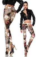 2014 top fashion leggings new seamless women's girl's sexy crown chain for graffiti color stretch fitness leggins casual jeggin