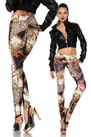 DHL Shipping New Seamless Women's Girl's Sexy Crown Chain Graffiti color Printing Stretch Leggings
