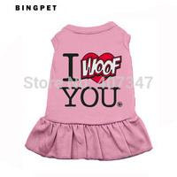 """Wholesale MOQ 12 PCS """"I Woof YOU""""  Dog Skirt Shirt  Free Shipping"""