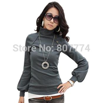 Wholesale Women New Autumn Winter Lantern Sleeve Shirt Turtle Neck Top Long Sleeve Basic Tees,Tops 5 Colors FREE SHIPPING #1010