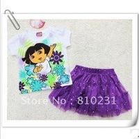 Free shipping,8pcs/lot Lovely white cartoon nets yarn dress, girl skirt,Brand children dress ,children girl wear