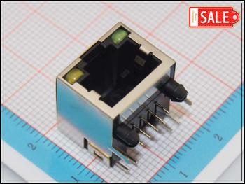Wholesale (100Pcs/lot) Female RJ45 Ethernet PCB Modular Terminal Socket Connector Jack With 2 LED Indicators