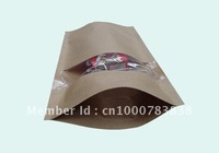 Factory directly sale 150*240mm wholesale kraft dry nut window standing up zipper bags,kraft paper snack doypack packaging bags
