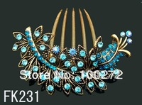 Wholesale vintage jewelry crystal rhinestone flowers hair combs hair accessories Free shipping 12pcs/lot Mixed colors  FK231