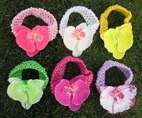 Min order is $10(mix order) Crochet Headbands +Moth Orchids flowers/,Headbows,Children Head Accessories