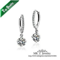 Factory Price White Zircon CZ Diamond Earring Crystal Earrings Fashion Bridal Jewelry Free Shipping