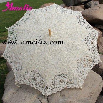 Белый Полный Batten Кружево Parasol Umbrella Свадьба Free sТаз