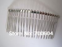 2014 High quality 100pcs/lot,multifunctional  20 teech silver women metal wire hair comb, wholesale, LH103