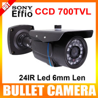 "1/3"" Sony Super HAD CCD II 700TVL Day/Night 24IR Led 6mm Len Waterproof CCTV Outdoor Bullet Camera With Bracket Color Iron Gray"