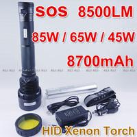 Silver Smart Super Bright 45W 65W 85W  HID Xenon Torch Flashlight 8700mAh Li-ion Battery 8500Lumen 1PCS NEW