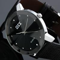ESS Brand New Mens Unisex Black Classic Value Leather Fashion Quartz Wrist Watch WM020-ESS