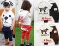 [E-Best] Boy/girl dog print clothing sets baby summer suits kids cotton clothes high quality wears t-shirt+short pants E-SSW-004