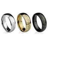 Wholesale/Retail Free Shipping FS 2012 Lord of the Rings Tungsten Gold & Black & Silver Ring Size 7,8,9,10,11