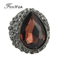 Cut Big Full Rhinestone Opal Imitation Crystal Bague Engagement Wedding Korean Rings Bijoux Women Joyas