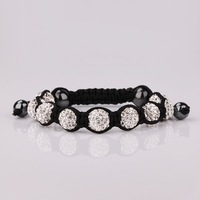 SBB097  Shambala Charm Disco Ball Bead White Bracelet New T-Paris Shambhala Rhinestone Crystal Fashion Jewelry Shamballa