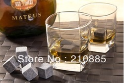Freeshipping 12pcs Whisky stones with velvet bag whiskey rock stone Great gift,whiskey stone(China (Mainland))